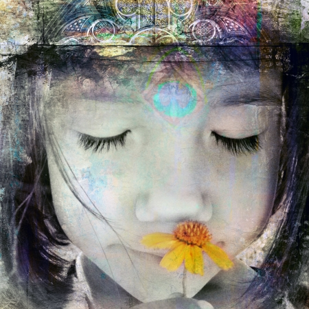 calmness: Child with crown smelling yellow wildflower. Photo based illustration.  Stock Photo