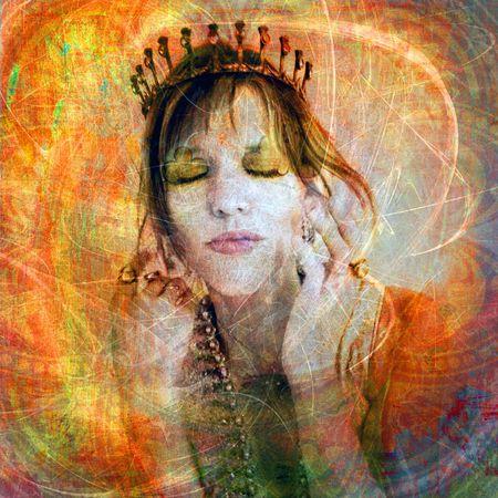 Woman wearing a tiara. Photo based illustration.  Stock Photo