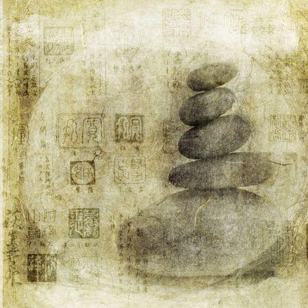 Stenen stapelen met Aziatische zeehonden patroon overlay. Foto gebaseerd illustratie.