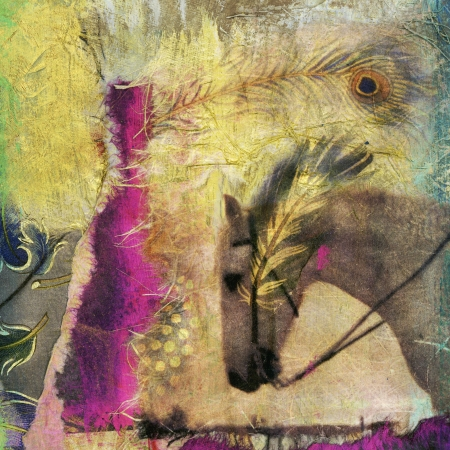 White horse photo based mixed medium collage. Banque d'images