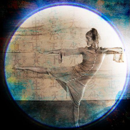 Female dancer in martial arts like pose. Photo based illustration.