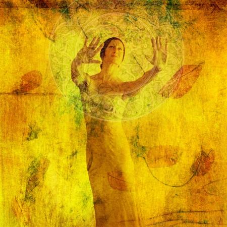 energia espiritual: Visualizaci�n de la mujer en la met�fora. Una mezcla a base de fotos medio ilustraci�n. Foto de archivo
