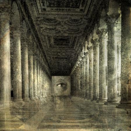 Des yeux à la fin de colonnes romaines. Photo basée illustration.