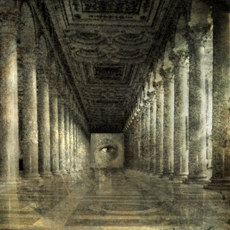 Eye at the end of Roman columns. Photo based illustration.