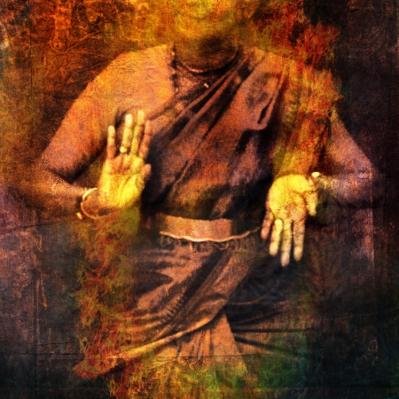 Hands in dance for Shiva with give and take mudra showing prana. Photo based illustration Foto de archivo