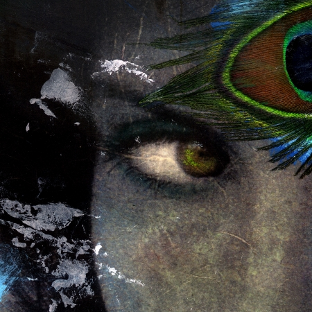 Visionary Eye-female with peacock feather  Stock Photo - 5161212