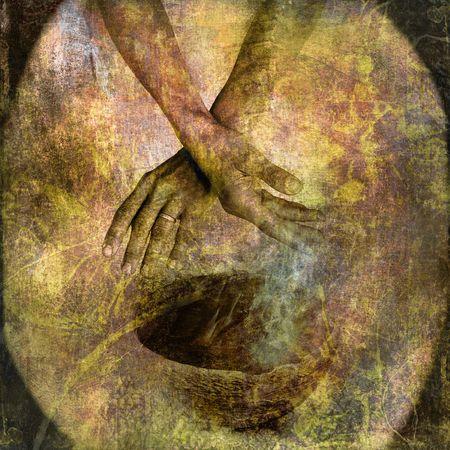 sacramentale: Mano con ciotola e fumo. Foto basa illustrazione. Archivio Fotografico