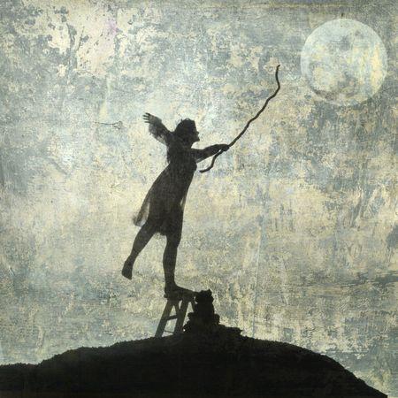 젊은 여자는 달에 도달. 사진 기반 그림입니다.