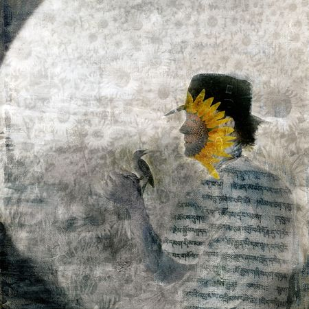 alchemical: Mystical sunflower man and bird in the garden. Photo based illustration.