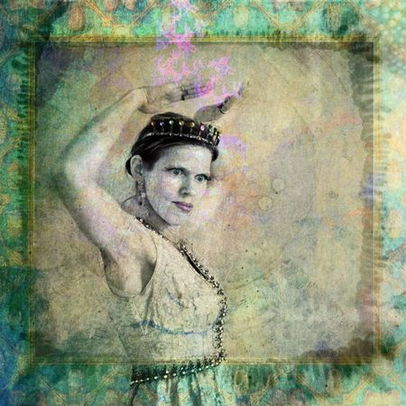 chakra energy: Woman wearing crown and gesturing. Photo based illustation.