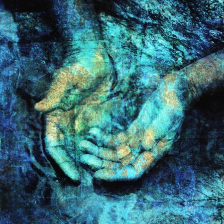 Mystical hands in water. Photo based illustration.            Stock Photo