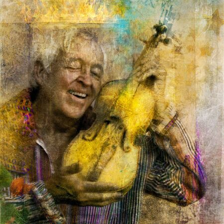 Old man with yellow violin and crown of light.