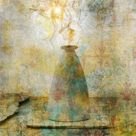 Alchemical vessel releasing vapor. Photo based illustation.