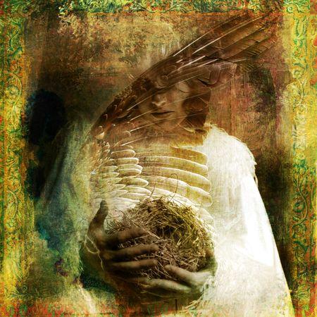 Vrouw met nest. Foto gebaseerd illustratie.