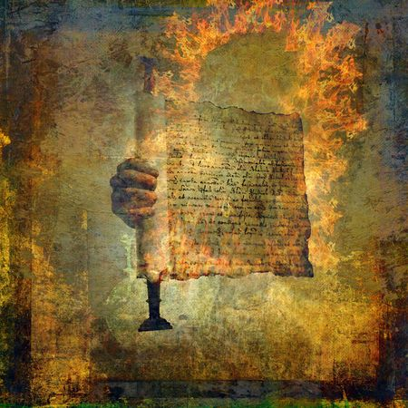 scripture: Hand holding a burning scroll. Photo based illustration.