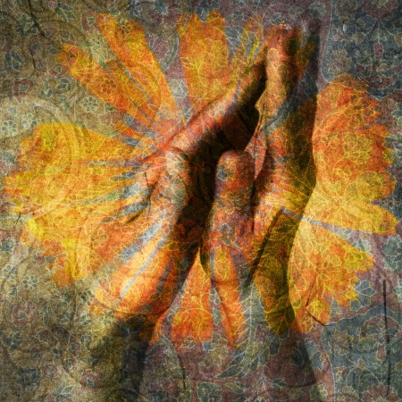 Hands in prayer. Photo based illustration.  Stock Photo