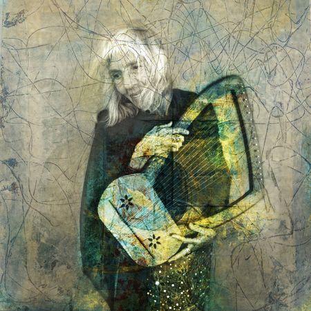 Old woman holding a harp. Photo based illustration.  photo