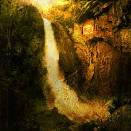Photo based illustration of a large waterfall near a native american petroglyph.