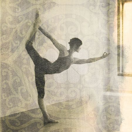 Woman in yoga pose Natarajasana or dancers pose. Scan of alternative fine art photography print.