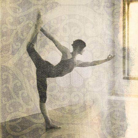 hatha: Woman in yoga pose Natarajasana or dancers pose. Scan of alternative fine art photography print.
