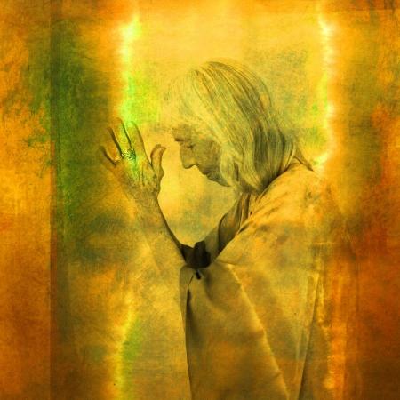 consciousness: Wise woman in illuninated prayer. Photo based illustration.