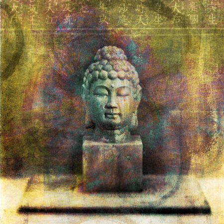 mixed media: Buddha head sculpture photographed in studio. Photo based illustration.