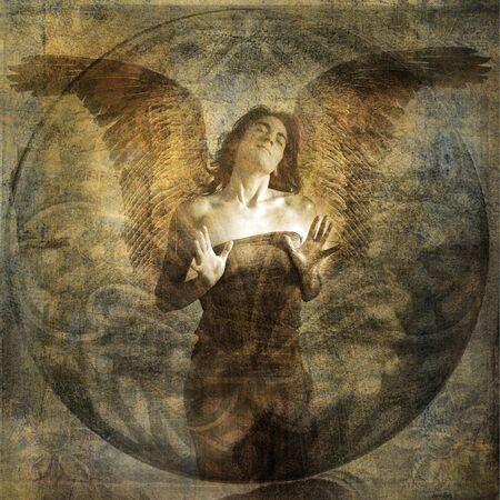 Angel met open hearted gebaar. Foto gebaseerd illustratie.  Stockfoto