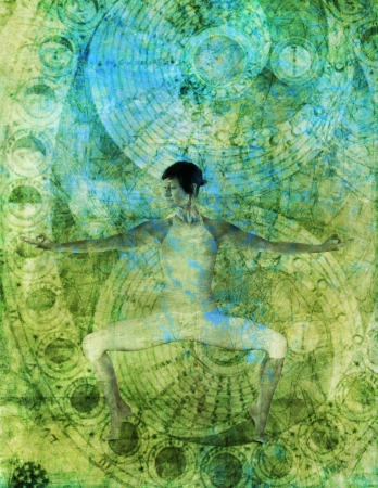 alchemical: Woman in yoga pose with alchemical chakra flow.