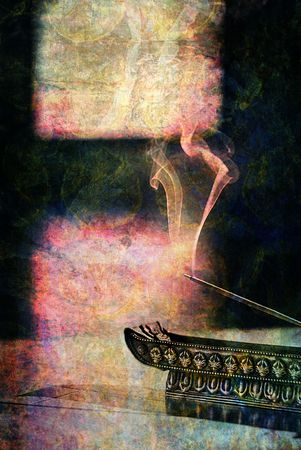 incense: Photo based illustration of incense burning.