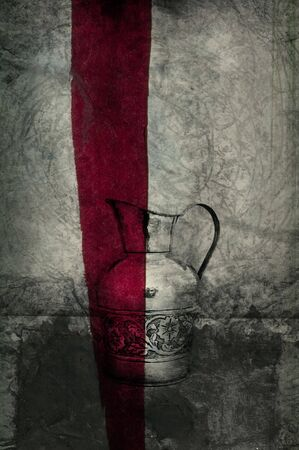 Photo based illustration of a pitcher with red line.  illustration