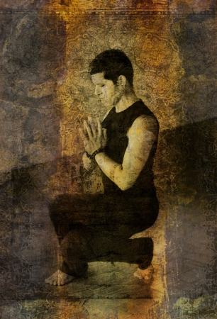 Photo based illustration of a man in a deep eagle squat with hands in prayer mudra.