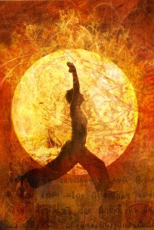 Woman in yoga warrior 1 pose in a circular light.  photo