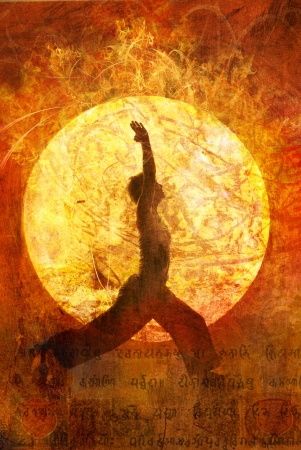 Woman in yoga warrior 1 pose in a circular light.  photo