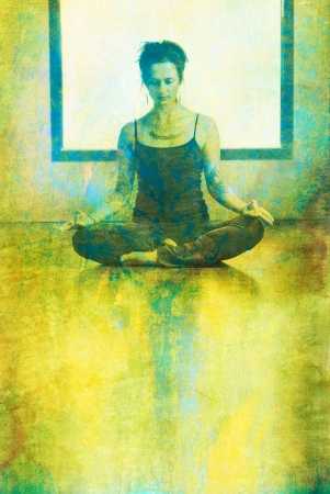 Woman in yoga mediatation posture indoors before a window. Photo based mixed medium  illustration.