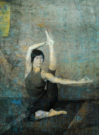 flexible woman: Woman in yoga pose photo based illustration.  Stock Photo
