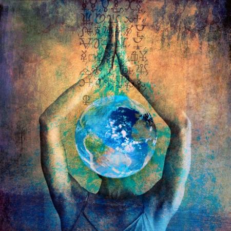 Vrouwelijke aarde ilustration met alchemistische tekenen.
