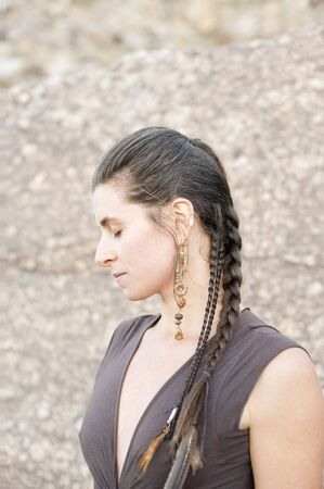 Profile of a natural woman with closed eyes in noble posture. Elsie Kost jewelry. Stock Photo - 6862837