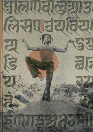 dreadlocks: Yogi Shiva dancer with ancient sacred sankrit writings overlaid.  Stock Photo