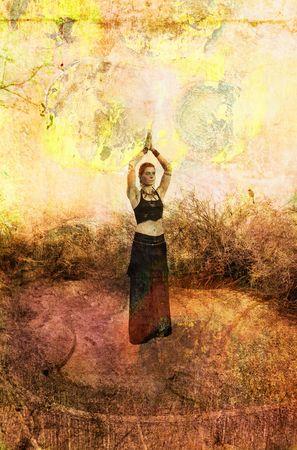 Vrouw in goddess pose. Foto gebaseerd illustratie.