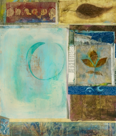Mixed medium art collage with panels of leaves and a circle.  Banque d'images