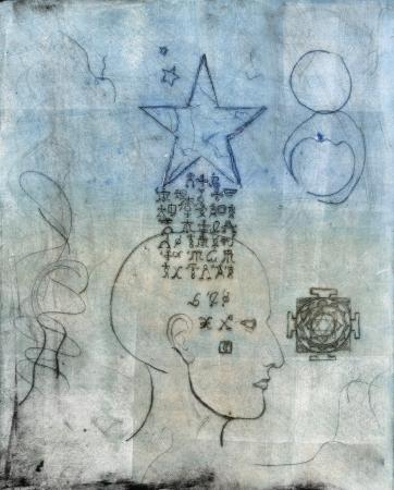 astral body: Monoprint de una cabeza humana con s�mbolos alqu�micos procedentes a trav�s de una estrella.