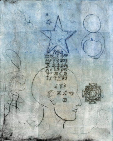 alchemical: Monoprint of a human head with alchemical symbols coming through from a star.