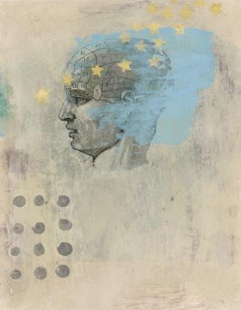 a thinker: Phrenology head with stars. Acrylic and Gel medium transfer on paper mixed medium art.