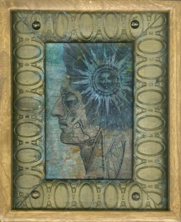 Ancient sun and anatomy gel medium transfers on kinwashi, in wood frames