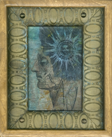 alchemical: Ancient sun and anatomy gel medium transfers on kinwashi, in wood frames