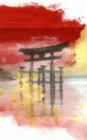 gateway: Painting of a  Japanese Torii Arch  A torii            arch is a traditional Japanese gate most commonly found at the entrance of or within a Shinto shrine, where it symbolically marks the transition from the profane to the sacred  Stock Photo