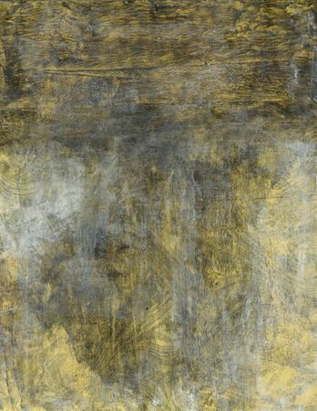 Abstract painting gold swirls covered in oxidation