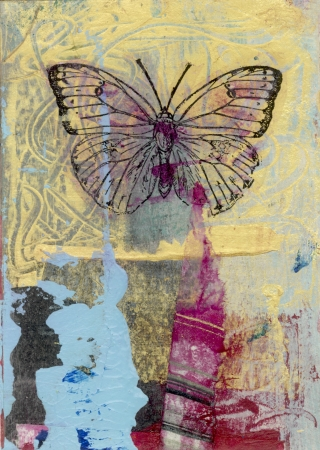 Mixed medium art work of a butterfly  Gel medium transfer on acrylic   Foto de archivo