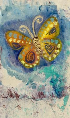 Mixed medium art work of a butterfly  Gel medium transfer on acrylic   Stock Photo