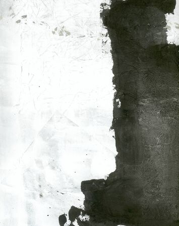 yin: Abstract painting black and white with intense subtle texture  Stock Photo